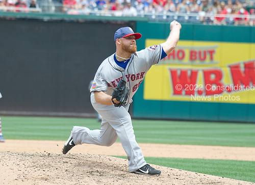 New York Mets relief pitcher Josh Edgin (66) works in the sixth inning against the Washington Nationals at Nationals Park in Washington, D.C. on Tuesday, July 4, 2017.  The Nationals won the game 11 - 4.<br /> Credit: Ron Sachs / CNP<br /> (RESTRICTION: NO New York or New Jersey Newspapers or newspapers within a 75 mile radius of New York City)