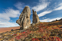 Granite tors on the autumn tundra in the Bering Land Bridge National Preserve, Seward Peninsula, Alaska.