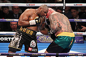 24th March 2018, O2 Arena, London, England; Matchroom Boxing, WBC Silver Heavyweight Title, Dillian Whyte versus Lucas Browne; Dillian Whyte lands a body shot to Lucas Browne during the early rounds