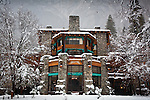 Fresh snow frosts the Ahwahnee Hotel in Yosemite Valley, Yosemite National Park, CA, USA.