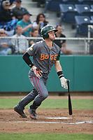 Danny Edgeworthy (17) of the Boise Hawks bats against the Everett AquaSox at Everett Memorial Stadium on July 20, 2017 in Everett, Washington. Everett defeated Boise, 13-11. (Larry Goren/Four Seam Images)