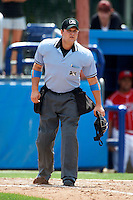 Umpire Ryan Simmons during a NY-Penn League game between the Batavia Muckdogs and Staten Island Yankees at Dwyer Stadium on July 29, 2012 in Batavia, New York.  Batavia defeated Staten Island 10-2.  (Mike Janes/Four Seam Images)