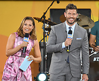 NEW YORK, NY - JULY 8: Ginger Zee and Jesse Palmer on ABC's 'Good Morning America' at SummerStage at Rumsey Playfield, Central Park on July 8, 2016 in New York City. Credit: John Palmer / MediaPunch