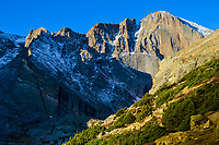 The dramatic East Face of 14,255' high Long's Peak rises almost 2000 feet above Chasm Lake in Rocky Mountain National Park, Colorado.