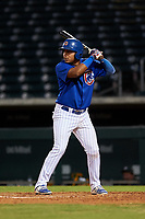 AZL Cubs 1 Ervis Marchan (21) at bat during an Arizona League game against the AZL Athletics Gold at Sloan Park on June 20, 2019 in Mesa, Arizona. AZL Athletics Gold defeated AZL Cubs 1 21-3. (Zachary Lucy/Four Seam Images)