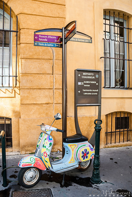 Colourful vespa in Aix-en-Provence, France