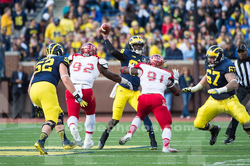 The University of Michigan football team defeats Miami University 34-10 at Michigan Stadium in Ann Arbor, Mich., on Sept. 13, 2014.