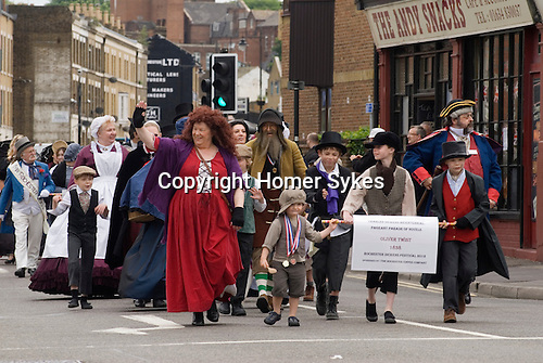 Charles Dickens Festival. Rochester Kent UK. Parade through town.Oliver Twist. 2012.