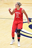Washington, DC - September 2 2018: Washington Mystics forward Elena Delle Donne (11) is fired up after defeating the Atlanta Dream during game 4 of their semifinals match up. Mystics even the series and force a deciding game 5 in Atlanta with a 97-76 win at the Charles Smith Center at George Washington University in Washington, DC. (Photo by Phil Peters/Media Images International)