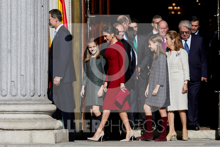 King Felipe VI of Spain, Queen Letizia of Spain, Princess Leonor of Spain and Princess Sofia of Spain attends to 40 Anniversary of Spanish Constitution at Congreso de los Diputados in Madrid, Spain. December 06, 2018. (ALTERPHOTOS/A. Perez Meca)