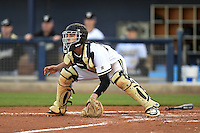Vanderbilt Commodores catcher Karl Ellison (25) waits for a throw during a game against the Indiana State Sycamores on February 20, 2015 at Charlotte Sports Park in Port Charlotte, Florida.  Vanderbilt defeated Indiana State 3-2.  (Mike Janes/Four Seam Images)