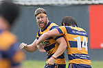 William Furniss celebrates after scoring a try. Premier Counties Power Club Rugby Round 3, Counties Power Game of the Week, between Patumahoe and Bombay, played at Patumahoe on Saturday March 24th 2018. <br /> Photo by Richard Spranger.<br /> <br /> Patumahoe Counties Power Cup Holders won the game 26 - 23 after trailing 7 - 23 at halftime.<br /> Patumahoe 26 - Penalty try, Richard Taupaki, Theodore Solipo, Craig Jones tries; Riley Hohepa 2 conversions. <br /> Bombay 23 - Shaun Muir, Jordan Goldsmith, Liam Daniela, tries; Tim Cossens conversion; Tim Cossens 2 penalties.