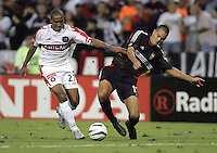 Andy Herron, left, Mike Petke, right, Chicago vs DC United at RFK Stadium in Washington, DC.