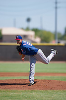Texas Rangers pitcher Brett Martin (57) follows through on his delivery during an Instructional League game against the San Diego Padres on September 20, 2017 at Peoria Sports Complex in Peoria, Arizona. (Zachary Lucy/Four Seam Images)