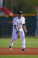 Lakeland Flying Tigers first baseman Wade Hinkle (25) during a game against the Tampa Yankees on April 7, 2016 at Henley Field in Lakeland, Florida.  Tampa defeated Lakeland 9-2.  (Mike Janes/Four Seam Images)