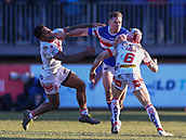 10th February 2019, Belle Vue, Wakefield, England; Betfred Super League rugby, Wakefield Trinity versus St Helens; Matty Ashurst of Wakefield Trinity  hands off Kevin Naiqama of St Helens with Theo Fages of St Helens near by