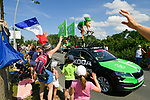 The publicity caravan ahead of the race during Stage 1 of the 2018 Tour de France running 201km from Noirmoutier-en-l&rsquo;&Icirc;le to Fontenay-le-Comte, France. 7th July 2018. <br /> Picture: ASO/Bruno Bade | Cyclefile<br /> All photos usage must carry mandatory copyright credit (&copy; Cyclefile | ASO/Bruno Bade)