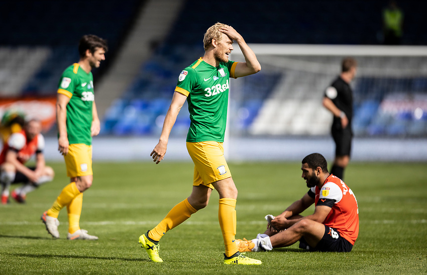 Preston North End's Jayden Stockley pictured at the end of the match <br /> <br /> Photographer Andrew Kearns/CameraSport<br /> <br /> The EFL Sky Bet Championship - Luton Town v Preston North End - Saturday 20th June 2020 - Kenilworth Road - Luton<br /> <br /> World Copyright © 2020 CameraSport. All rights reserved. 43 Linden Ave. Countesthorpe. Leicester. England. LE8 5PG - Tel: +44 (0) 116 277 4147 - admin@camerasport.com - www.camerasport.com