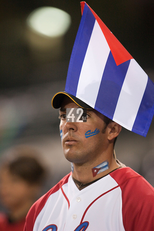 18 March 2009: A fan cheers for Team Cuba during the 2009 World Baseball Classic Pool 1 game 5 at Petco Park in San Diego, California, USA. Japan wins 5-0 over Cuba.