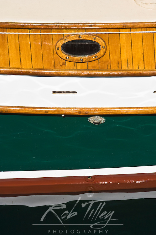 USA, WA, Port Townsend, Wooden Boat Festival, Wooden Boat Detail