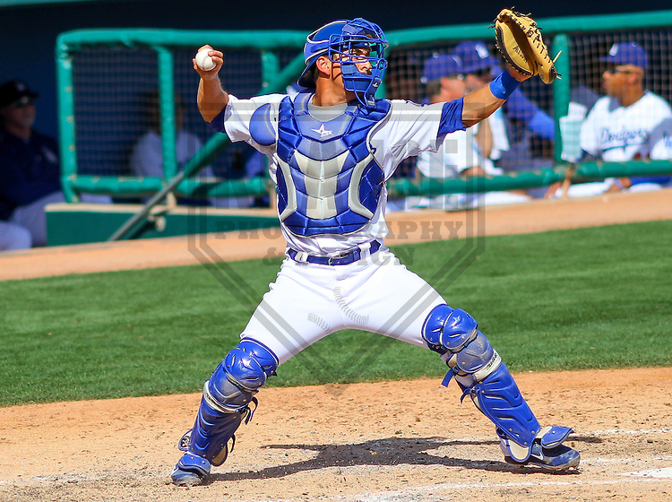 GLENDALE - March 2015: Austin Barnes (65) of the Los Angeles Dodgers during a spring training game against the Cleveland Indians on March 17th, 2015 at Camelback Ranch in Glendale, Arizona. (Photo Credit: Brad Krause)