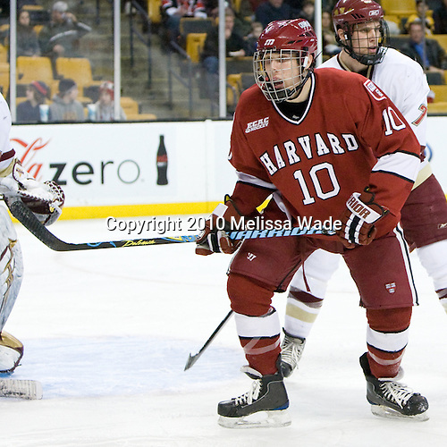 Eric Kroshus (Harvard - 10), Carl Sneep (BC - 7) - The Boston College Eagles defeated the Harvard University Crimson 6-0 on Monday, February 1, 2010, in the first round of the 2010 Beanpot at the TD Garden in Boston, Massachusetts.