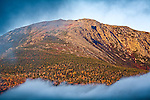 An autumn sunrise on Mount Washington in Pinkham Notch, on the Appalachian Trail, the White Mountain National Forest, NH, USA
