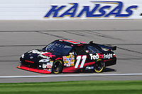 Sept. 27, 2008; Kansas City, KS, USA; Nascar Sprint Cup Series driver Denny Hamlin during practice for the Camping World RV 400 at Kansas Speedway. Mandatory Credit: Mark J. Rebilas-