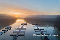 63895-16819 Boat Docks at sunrise in fog Stephen A. Forbes State Park-aerial-Marion Co. IL