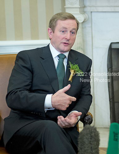 meets Prime Minister Enda Kenny of Ireland makes remarks to the press as he meets United States President Barack Obama in Oval Office of the White House in Washington, D.C. on Friday, March 14, 2014.<br /> Credit: Ron Sachs / Pool via CNP