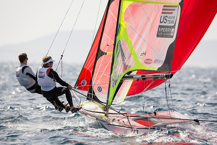 20140401, Palma de Mallorca, Spain: SOFIA TROPHY 2014 - 850 sailors from 50 countries compete at the ISAF Sailing World Cup event. 49er - USA150 - Brad Funk / Trevor Burd. Photo: Mick Anderson/SAILINGPIX.