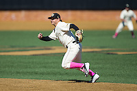 Wake Forest Demon Deacons second baseman Nate Mondou (10) on defense against the Virginia Tech Hokies at Wake Forest Baseball Park on March 7, 2015 in Winston-Salem, North Carolina.  The Hokies defeated the Demon Deacons 12-7 in game one of a double-header.   (Brian Westerholt/Four Seam Images)