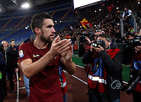 Calcio, Serie A: Lazio vs Roma. Roma, stadio Olimpico, <br /> Roma&rsquo;s Kevin Strootman greets fans at the end of the Italian Serie A football match between Lazio and Rome at Rome's Olympic stadium, 4 December 2016. Roma won 2-0.<br /> UPDATE IMAGES PRESS/Riccardo De Luca