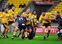 James Broadhurst in action during the Super Rugby match between the Hurricanes and Sharks at Westpac Stadium, Wellington, New Zealand on Saturday, 9 May 2015. Photo: Dave Lintott / lintottphoto.co.nz