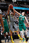 03 APR 2012:  Brittney Griner (42) of Baylor University rebounds between Devereaux Peters (14 and Natalie Achonwa (11) of the University of Notre Dame during the Division I Women's Basketball Championship held at the Pepsi Center in Denver, CO.  Jamie Schwaberow/NCAA Photos