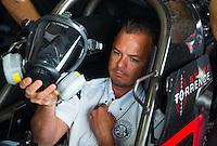 Jun 5, 2015; Englishtown, NJ, USA; NHRA top fuel driver Steve Torrence during qualifying for the Summernationals at Old Bridge Township Raceway Park. Mandatory Credit: Mark J. Rebilas-