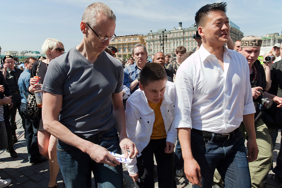 Moscow, Russia, 28/05/2011..American gay rights activists Andy Thayer and Daniel Choi arrive  at an attempted gay pride parade in central Moscow. Several dozen people were arrested during clashes as Russian nationalists attacked gay rights activists during their sixth attempt to hold a gay pride parade in the Russian capital.