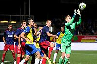 LEEUWARDEN - Voetbal, SC Cambuur - Jong Ajax, Cambuur stadion, seizoen 2017-2018, 18-08-2017,  Jong Ajax doelman Stan van Bladeren onderschept een voorzet