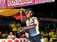CUCUTA - COLOMBIA - 20-05-2013: Jersy Puello, patinadora del departamento de Bolivar celebra depues de ganar la prueba de los 500 metros, mayores damas en el Campeonato Nacional Interligas en la ciudad de Cucuta, mayo 20 de 2013. (Foto: VizzorImage / Luis Ramirez / Staff).  Jersy Puello, skater of the Bolivar Department celebrates after winning the 500 meters event, senoir women in Interleague National Championship in the city of Cucuta, May 20, 2013. (Photo: VizzorImage / Luis Ramirez / Staff).