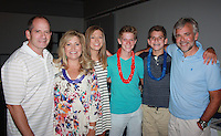 NWA Democrat-Gazette/CARIN SCHOPPMEYER Mike and Amy Bates (from left), Hayden Bates, Baxter Jackson, Michael Bates and Joseph O'Connell attend the Beach Bingo Bash.