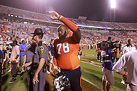 Sept. 3, 2011 - Charlottesville, Virginia - USA; Virginia Cavaliers offensive tackle Morgan Moses (78) raises his hands to fans after an NCAA football game against William & Mary at Scott Stadium. Virginia won 40-3. (Credit Image: © Andrew Shurtleff