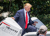 """United States President Donald J. Trump boards a Freeman Boatworks boat as he hosts the Third Annual """"Made in America"""" Product Showcase on the South Lawn of the White House in Washington, DC on Monday, July 15, 2019.<br /> Credit: Ron Sachs / CNP"""