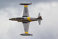 Greg Colyer pilots a Lockheed T-33 Shooting Star during a 2016 air show performance in Hillsboro, Oregon. The Lockheed T-33 Shooting Star was developed from the P-80/F-80 fighter and made its first flight in 1948.