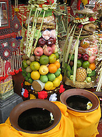 offerings and thirta (holy water) in Ubud, central Bali, archipelago Indonesia