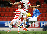 St Johnstone v Hamilton Accies....016.01.16  SPFL  McDiarmid Park, Perth<br /> John Sutton's header is handled by Ziggy Gordon but no penalty was given<br /> Picture by Graeme Hart.<br /> Copyright Perthshire Picture Agency<br /> Tel: 01738 623350  Mobile: 07990 594431