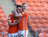 Blackpool's Jordan Thompson celebrates scoring the opening goal with team-mate Callum Guy<br /> <br /> Photographer Stephen White/CameraSport<br /> <br /> The EFL Sky Bet League One - Blackpool v Rochdale - Saturday 6th October 2018 - Bloomfield Road - Blackpool<br /> <br /> World Copyright © 2018 CameraSport. All rights reserved. 43 Linden Ave. Countesthorpe. Leicester. England. LE8 5PG - Tel: +44 (0) 116 277 4147 - admin@camerasport.com - www.camerasport.com