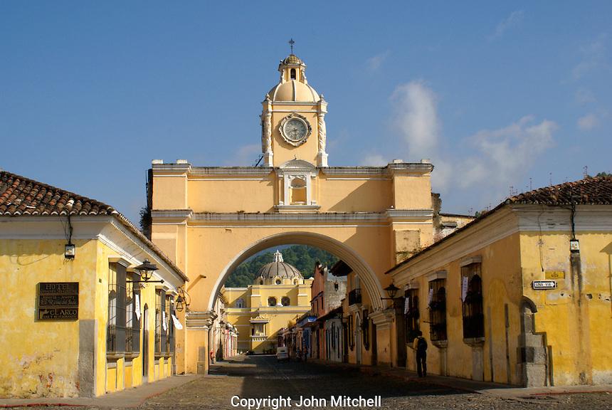 The Arco de Santa Catarina or Arch of Saint Catherine in Antigua, Guatemala. Antigua is a UNESCO World heritage site...