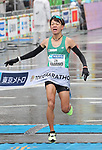 March 3, 2019, Tokyo, Japan - Japan's Daichi Kamino crosses the finish line of the Tokyo Marathon 2019 in Tokyo on Sunday, March 3, 2019. Kamino finished the eighth with a time of 2 hours 11 minutes 5 seconds.  (Photo by Yoshio Tsunoda/AFLO)