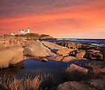 Sunset Skies At The Nubble Light, A Pastoral New England Seascape And Lighthouse, Cape Neddick, Maine