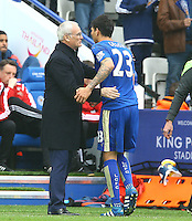 Leicester City manager Claudio Ranieri hugs Leonardo Ulloa of Leicester City after he is substituted during the Barclays Premier League match between Leicester City and Swansea City played at The King Power Stadium, Leicester on 24th April 2016